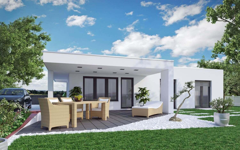 Bungalow terra 107 haas fertighaus for Flachdachhaus mit garage